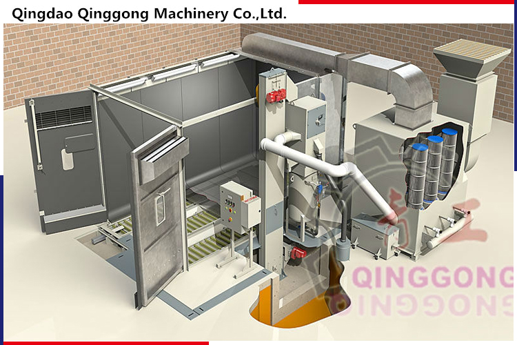 Scraper Recovery Type Sandblasting Room/Cabinet/Booth for Large-scale Steel Workpiece from Manufacturer