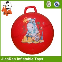 PVC inflatable toys ball with round handle,jumping ball,hopper ball