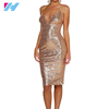 wholesale women fashion design latest rose gold sequin evening dress