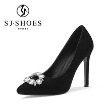 5553 New design high heels comfortable dress fashion ladies shoes with beautiful rhinestone