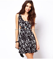 Sexy star printed sleeveless dress school girls without dress