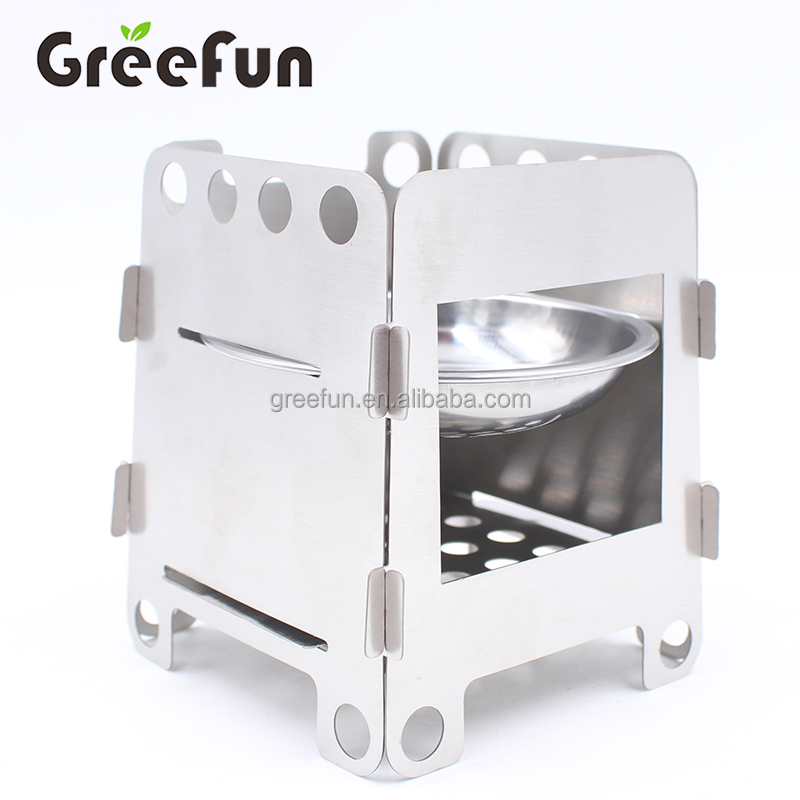 High Quality Folding Camping Wood Stove for Outdoor Cooking Picnic Hunting with Carry Bag Mini Camping Stove