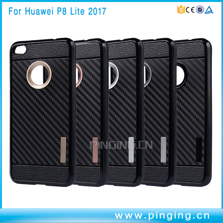 Carbon Fiber TPU Rugged Protective Case for Huawei P9 Lite 2017 Case Back Cover