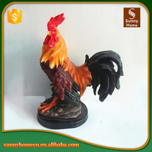 Resin garden rooster statue animals with multi colored
