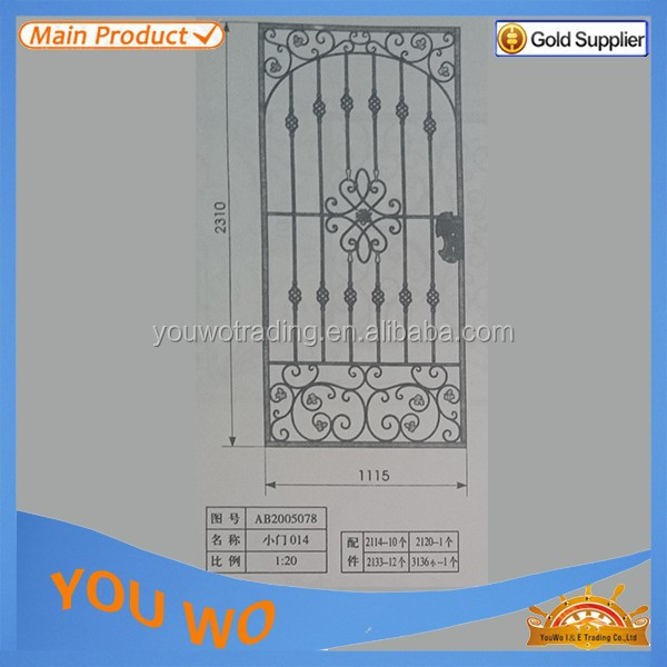 2012 elegant iron round steel sliding gate wrought iron components and accessories