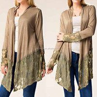 Lace Crochet Cardigan Coat Long Sleeve Front And Back Contrast Lace Details Open Cardigan Latest Design Womens Cardigan