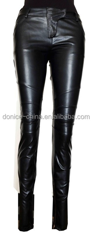 Girls genuine leather pants fashion tight black leather pants from China