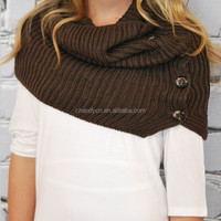 Winter Fashion Buttons Knitted Infinity Scarf