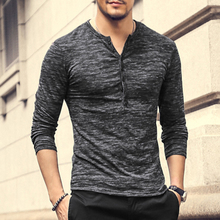 New Men Henley Shirt 2017 new Tee Tops Long Sleeve Stylish Slim Fit T-shirt Button placket Casual men Outwears Popular Design