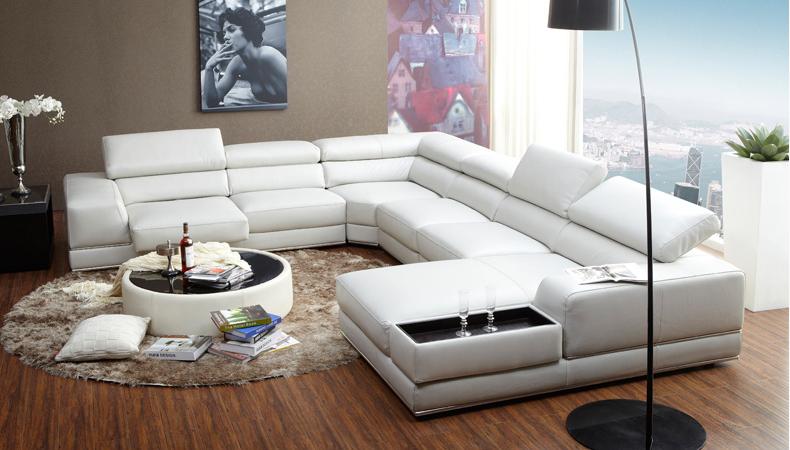 new italian style modern u shaped white leather extra