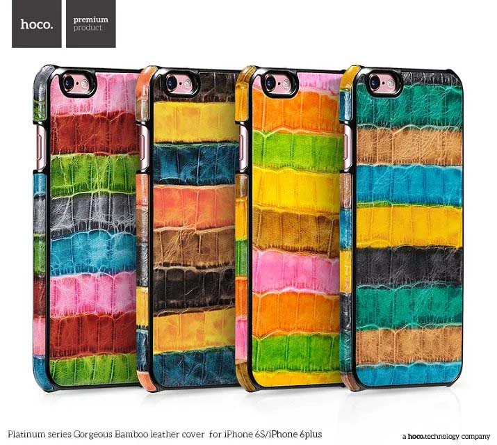 NEW HOCO Platinum series gorgeous bamboo leather case for iPhone 6 6S