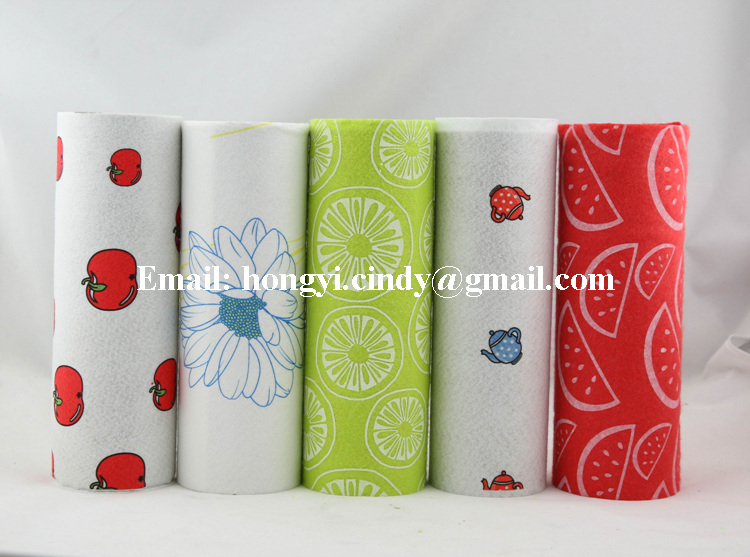 Perforated tear off viscose/polyester super absorbent nonwoven fabric printed kitchen cleaning cloth rolls