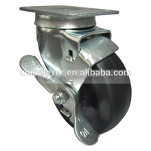 Swivel 4 inch caster with brake type cast iron industrial caster wheel plate type stainless steel castor