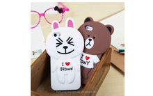 New design cartoon cute bear/rabbit shape silicone mobile phone case for iphone6,phone cover for iphone6s