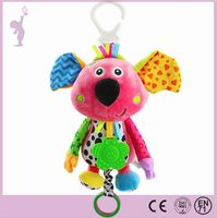 Alibaba wholesale plush baby rattles teether educational toy with high quality