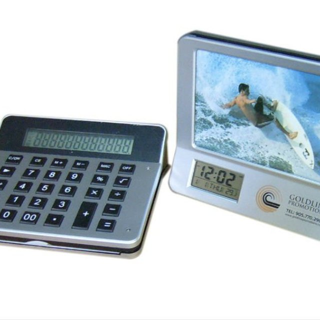 3 in 1 multifunction photo frame with calculator clock