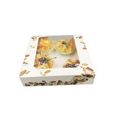 cute folding paper cake box with clear window, flat cake box