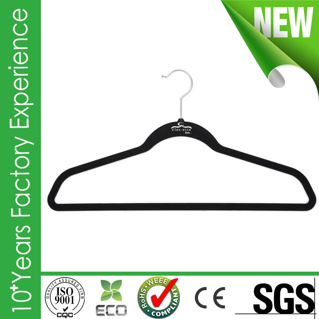 CR-UK453_velvet New design wholesale velvet tie hanger with great price