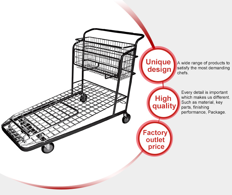 Made In China Wholesale Warehouse Shopping Cart With Adjustable Handle