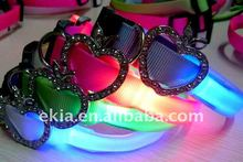 Fashion rhinestone apple led dog collar