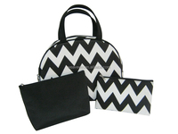 Three-piece multifunctional wave pattern cosmetic bag