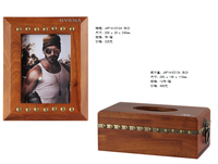 Perfect Set Wooden Vintage Tissue Box with Antique Photo Frame for Living Room