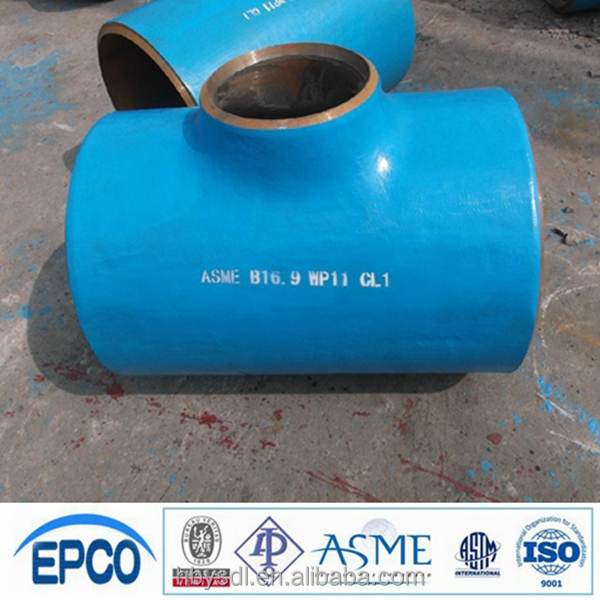 ansi b16.9 alloy steel A234 WP11 reducing tee blue color as