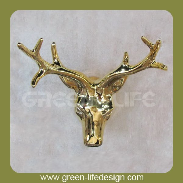 Gold plating deer head wall decoration