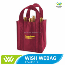 Cheap Custom Non Woven Six Bottle Wine Tote Bag