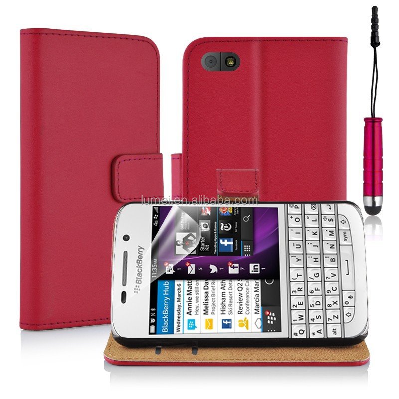Fashion PU Leather Wallet Stand Card Slots Phone Case For Blackberry <strong>Q10</strong>