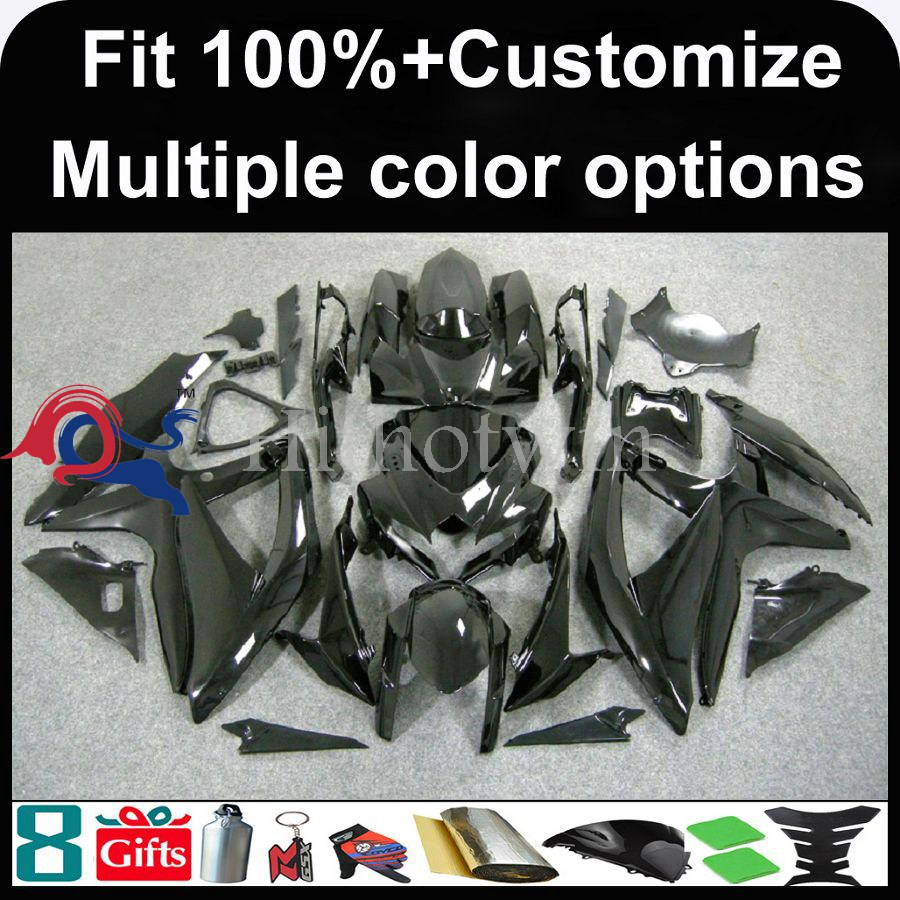 INJECTION MOLDING panels K8 ABS Fairing For Suzuki GSXR 600 black GSXR 750 2008 2009 2010 Kit Set Fit GSX R600 GSX R750 2008 201