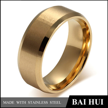 Baihui Jewelry Factory-8MM Stainless Steel Fashion Men's Ring Matte&Pulished/Cheap Wholesale Gold Band Ring