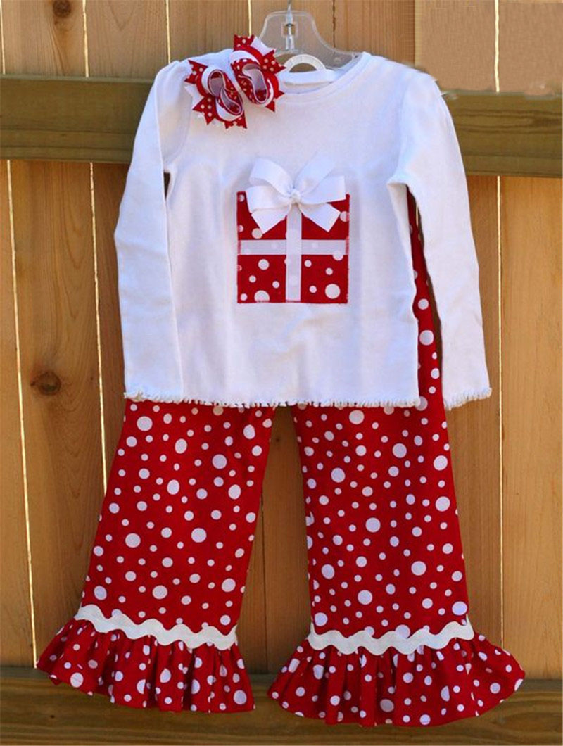 simple design floral pants baby girls long sleeve boutique clothes sets