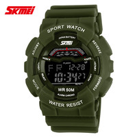promotion price free shipping women&men outdoor sports 5atm waterproof digital multi-function skmei led watch instructions