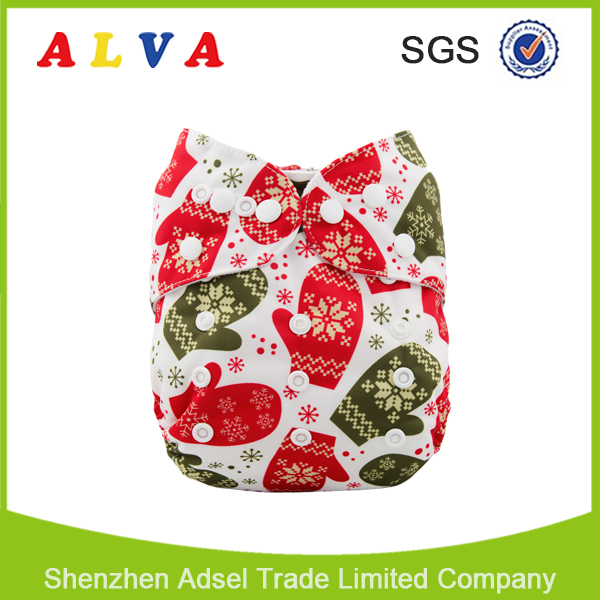 New Arrivals for Christmas Designs Alva Reusable and Washable Baby Cloth Diaper Factory in China