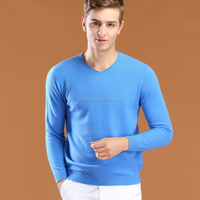 2016 high quality V neck long sleeve knitted cashmere sweater for men
