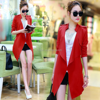 Army Green Long Overcoat For Women Fashion Lady 2015 Women fancy blazer sex