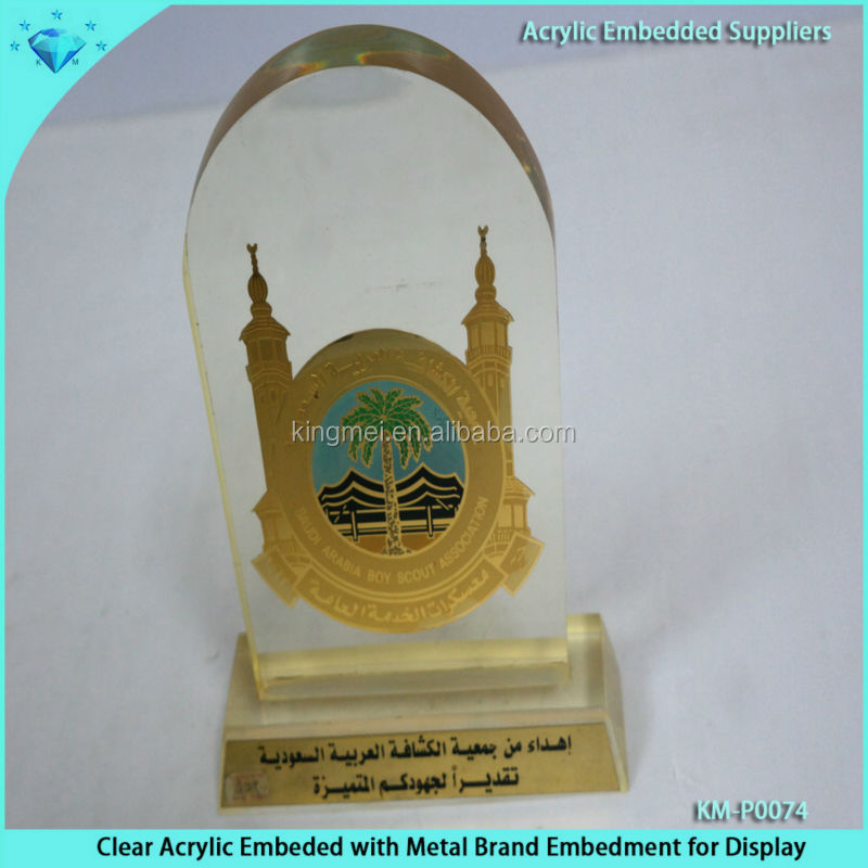 Clear Acrylic Embeded with Metal Medals for souvenir