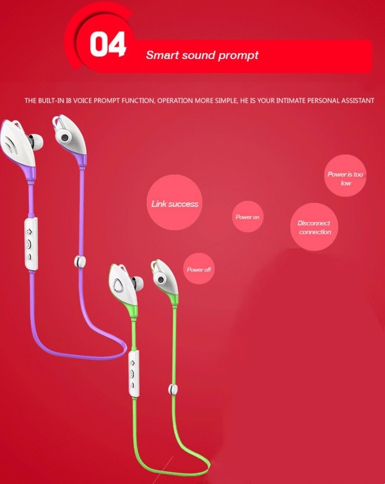Fashion Sport High Quality Stereo Sound Wireless Earphone Bluetooth