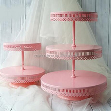 2 tier lace pink cupcake display wedding cake decoration stand