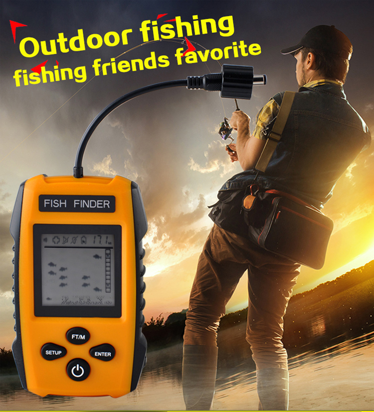 Portable Fish Finder Depth Sonar Sounder Alarm Transducer Fishfinder 0.7-100m <strong>Fishing</strong> Echo Sounder with English Display