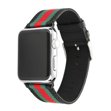 Leather smart watch strap Sundo Woven Nylon watch band Wrist Strap for apple watch