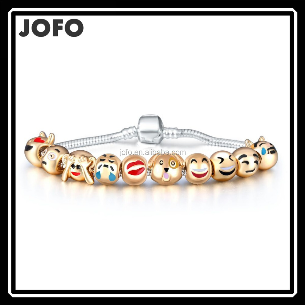 2016 New Style <strong>18</strong> <strong>K</strong> Gold Plated Animal Emoji Beaded Bracelet Emoji Charms Bracelet