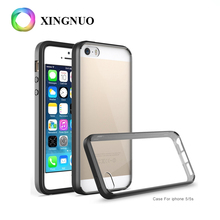 Ultra thin Candy color Soft TPU Hard Acrylic Plastic Transparent Back Cover Phone Bumper Rugged Case For iPhone 5 5S SE Back C