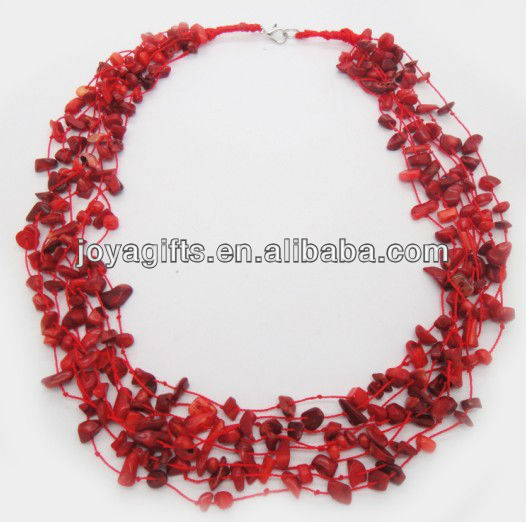 8Wire Knotted red coral Chip Necklace with lobster clasp necklace interface