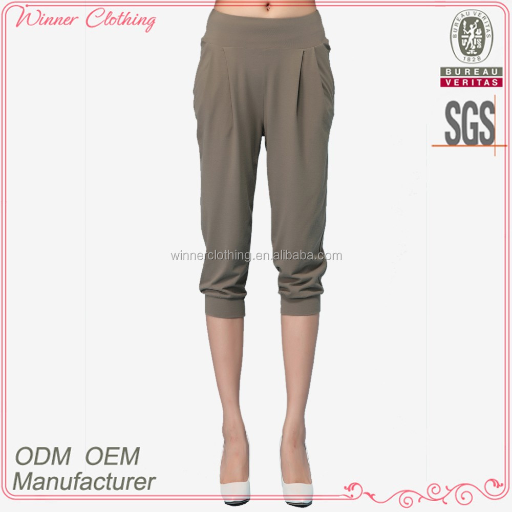 fashion girl/lady trousers loose capris stretch waist with tight hem harem trousers