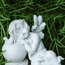 Decorative stone lovely sleeping angel baby rest religion white marble statue dormant