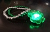 Stretchable silver and green cross bead led flashing shamrock jewelry bracelet silver