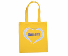 Cheap small easy design heart pattern yellow canvas shopping bag standard size canvas tote bag