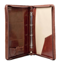 A4 File Folder 4 Rings Leather Ring Binder with Zipper Around